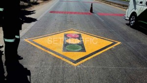 traffic sign on the road surface